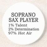 Aire caliente del jugador de saxofón del soprano posavasos diseño