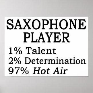 Aire caliente del jugador de saxofón póster