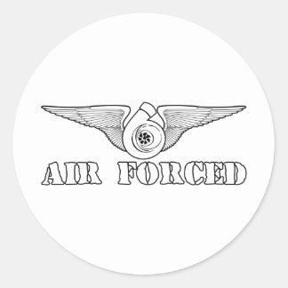 Aire forzado pegatina redonda