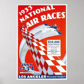 Aire nacional Races, 1933. Publicidad del vintage Póster