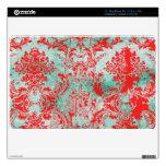 Aire rojo de Mac Book del damasco de la turquesa d Calcomanías Para MacBook