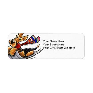 Aire-Sledding Airedale Terrier Custom Return Address Labels