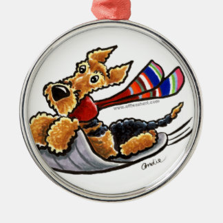 Aire-Sledding Airedale Terrier Metal Ornament