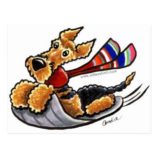 Aire-Sledding Airedale Terrier Postcard