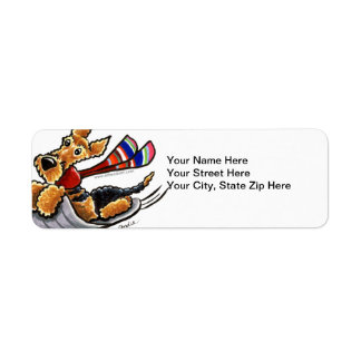 Aire-Sledding Airedale Terrier Return Address Label