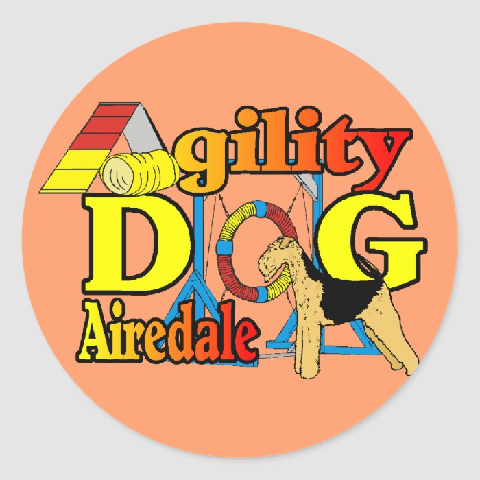 Airedale_Agility Gifts Classic Round Sticker
