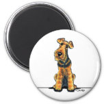 Airedale Cartoon 2 Inch Round Magnet