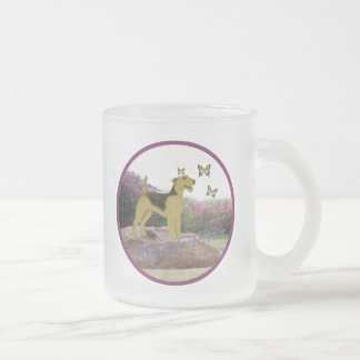 Airedale Chasing Butterflies Frosted Glass Coffee Mug