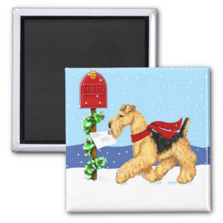 Airedale Christmas Dale Mail 2 Inch Square Magnet