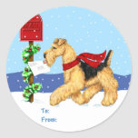 Airedale Christmas Dale Mail Gift Tags Round Stickers