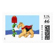 Airedale Christmas Dale Mail Postage Stamp