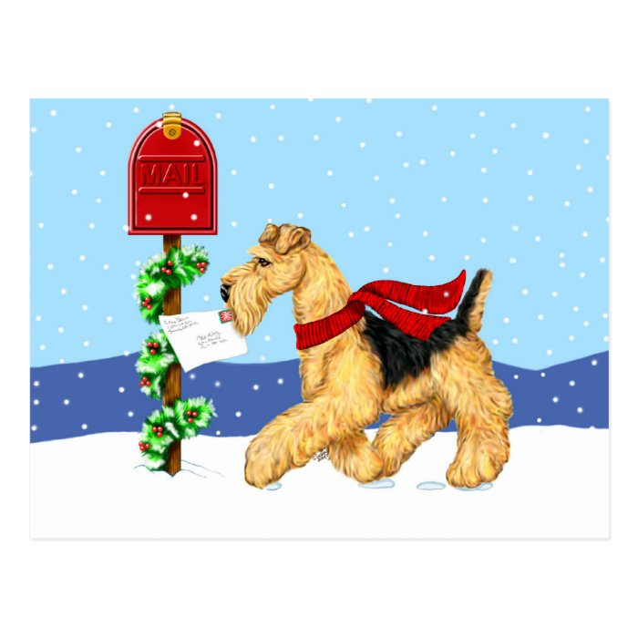 Airedale Christmas Dale Mail Postcard