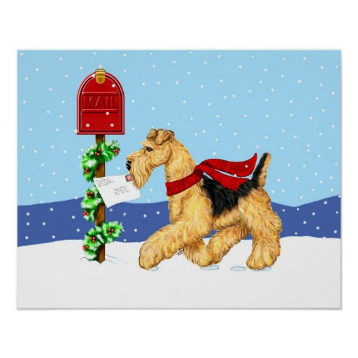 Airedale Christmas Dale Mail Poster