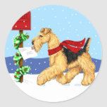 Airedale Christmas Dale Mail Round Stickers