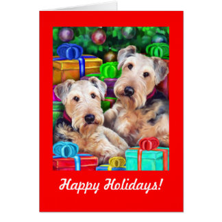 Airedale Christmas Open Now Greeting Card