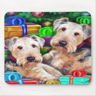 Airedale Christmas Open Now Mouse Mats