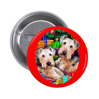 Airedale Christmas Open Now Pinback Button