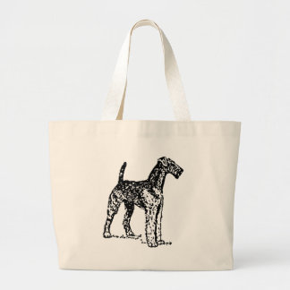 Airedale Drawing Large Tote Bag