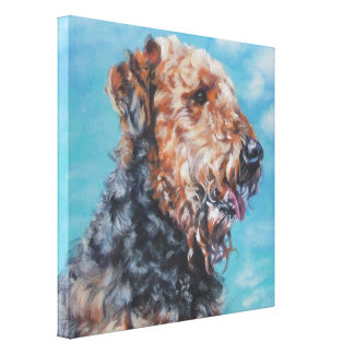 Airedale Fine Art Painting on Wrapped Canvas