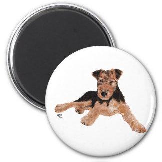 Airedale, Lakeland, perrito de Terrier galés Imán Redondo 5 Cm