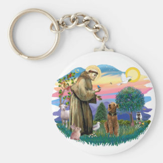 Airedale (looking up) keychain