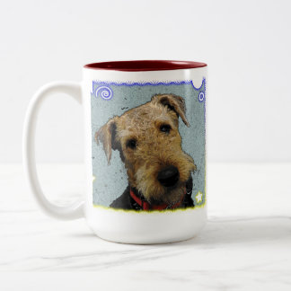 Airedale lovable , excitable Two-Tone coffee mug