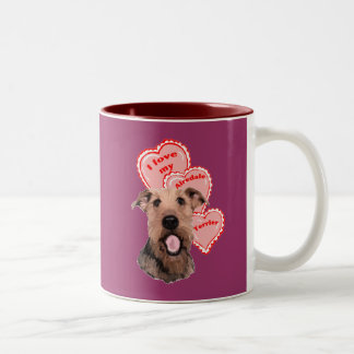 airedale love Two-Tone coffee mug