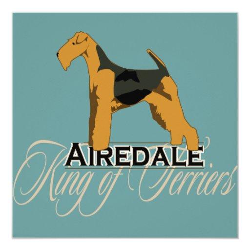 Airedale, rey de terrieres, detallado invitaciones personalizada