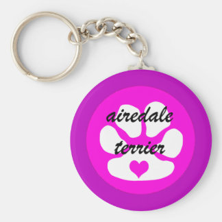 airedale terier basic round button keychain