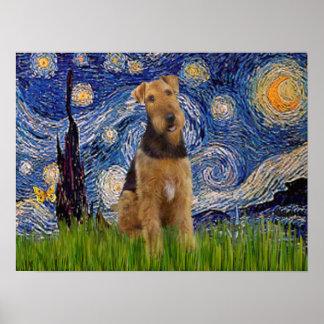 Airedale Terrier (#1) - noche estrellada Póster