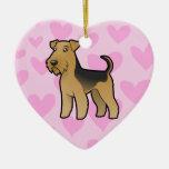 Airedale Terrier/amor de Terrier galés Adorno De Cerámica En Forma De Corazón