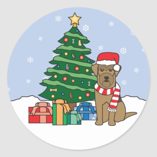 Airedale Terrier and Christmas Tree Classic Round Sticker
