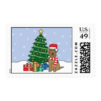 Airedale Terrier and Christmas Tree Postage Stamp