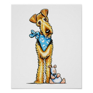 Airedale Terrier and Puppy Poster