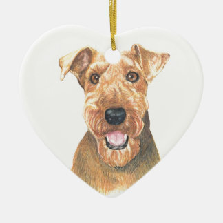 Airedale Terrier Art Ceramic Ornament