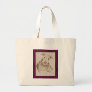 Airedale Terrier art drawn from only words Bags