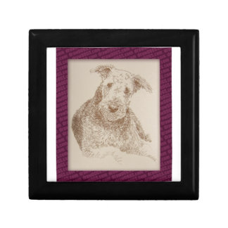 Airedale Terrier art drawn from only words Jewelry Box