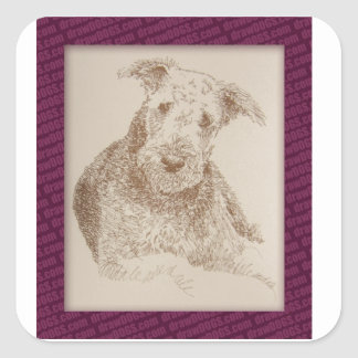 Airedale Terrier art drawn from only words Square Sticker
