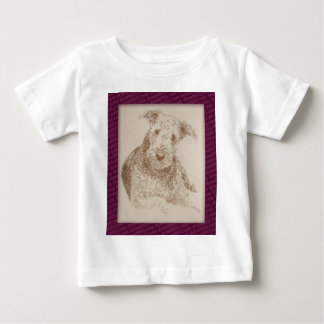 Airedale Terrier art drawn from only words T-shirt