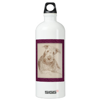 Airedale Terrier art drawn from only words Water Bottle