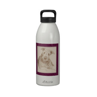 Airedale Terrier art drawn from only words Reusable Water Bottles