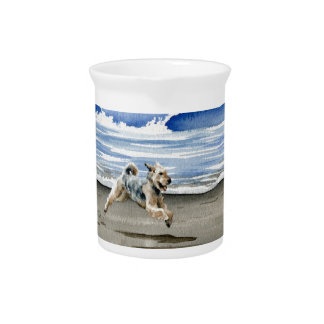 Airedale Terrier At The Beach Drink Pitcher