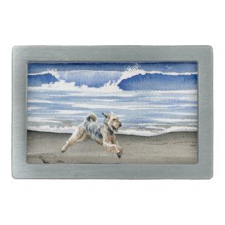 Airedale Terrier At The Beach Rectangular Belt Buckle