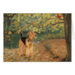 Airedale Terrier Birdwatching Greeting Card