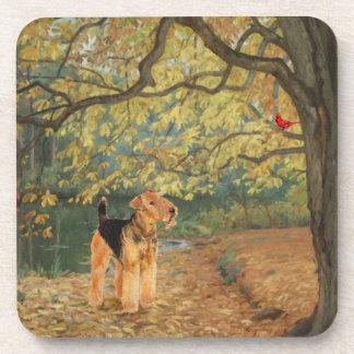 Airedale Terrier Birdwatching Posavasos