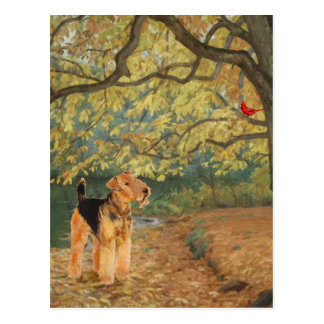 Airedale Terrier Birdwatching Postcard