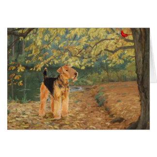Airedale Terrier Birdwatching Tarjetas