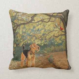 Airedale Terrier Birdwatching Throw Pillow