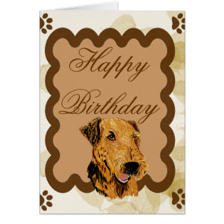 Airedale Terrier ~ Birthday Tan Leaves Greeting Card