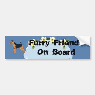 Airedale Terrier Blue Dogwood Bumper Sticker